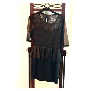 Modcloth Sheer and Peplum Black Mini Dress
